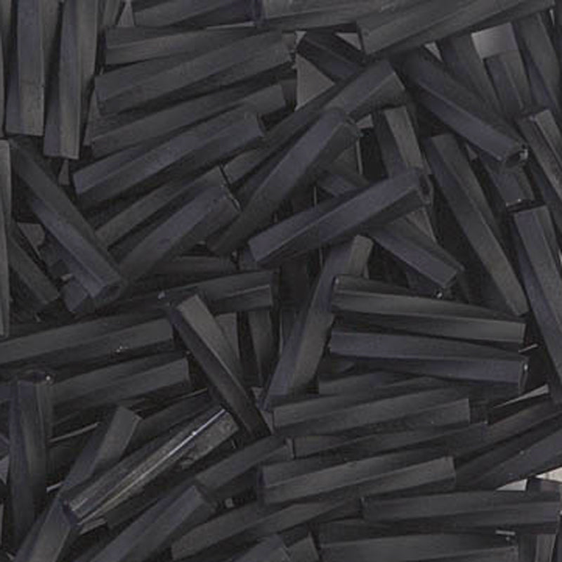 Seed Beads-2.7x12mm Twisted Bugle-401F Matte Black