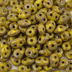Seed Beads-2.5x5mm Superduo-230 Lemon Picasso-Czech-7 Grams