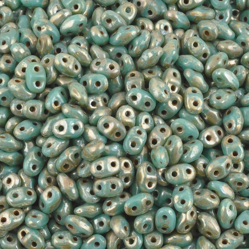 Seed Beads-2x4mm MiniDuo-225 Turquoise Green Picasso