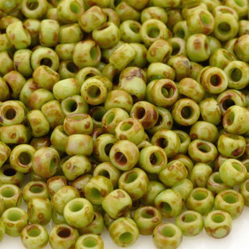 Seed Beads-3/0 Round-Y310 Hybrid Sour Apple Picasso-Toho-16 Grams