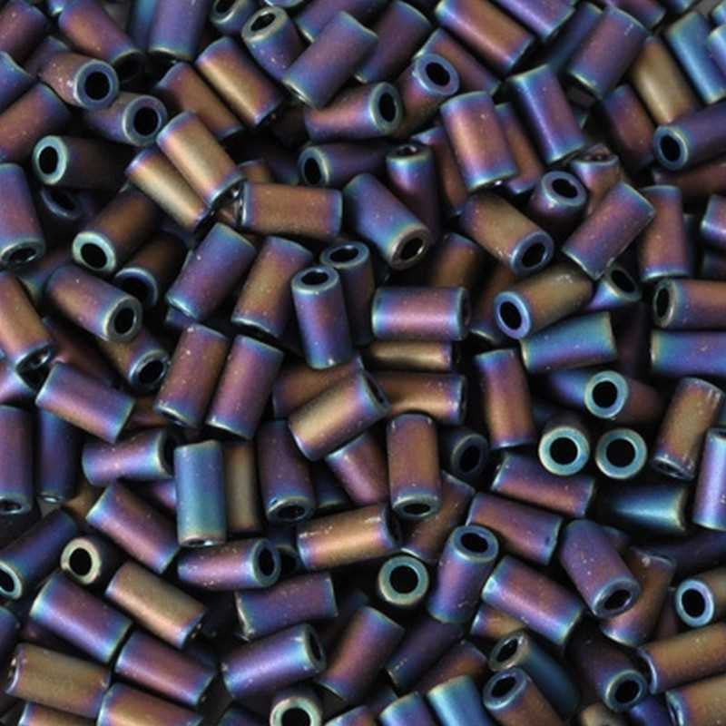 Seed Beads-3mm Bugle-615 Matte Color-Iris Purple-Toho-14 Grams
