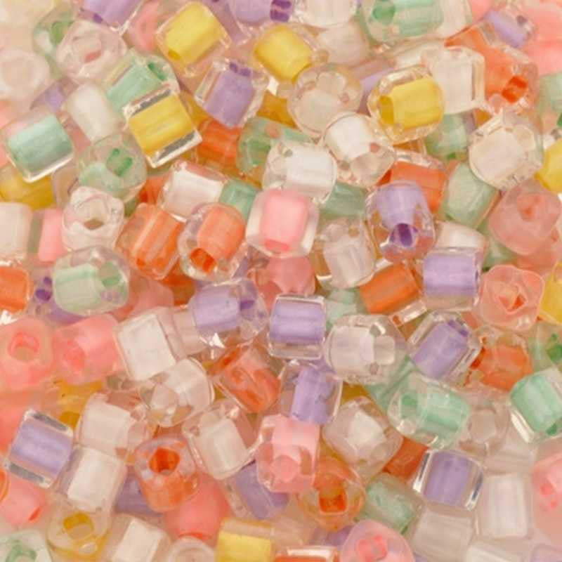 Seed Beads-3mm Cube-003 Pastel Mix-Toho-15 Grams