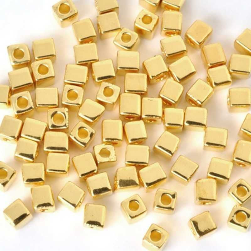Seed Beads-3mm Cube-191 24Kt Gold Plated-Miyuki-7 Grams