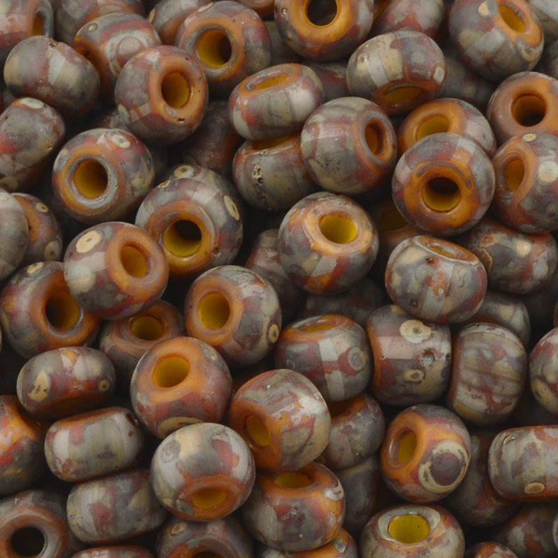 Seed Beads-4/0 Rocailles Aged Stripe-37 Yellow Brown Red Travertine-Czech-7 Grams