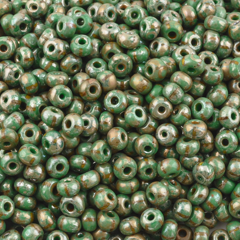 Seed Beads-4/0 Rocailles Aged Stripe-38 Green Yellow Picasso-Czech-7 Grams