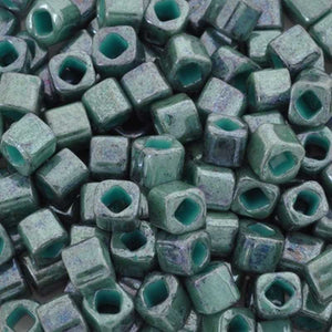Seed Beads-4mm Cube-1207 Marbled Opaque Turquoise Blue-Toho-15 Grams