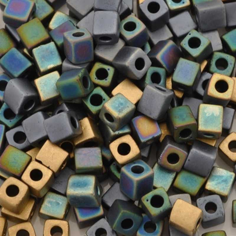 Seed Beads-4mm Cube-24 Matte Heavy Metals Mix-Miyuki-15 Grams