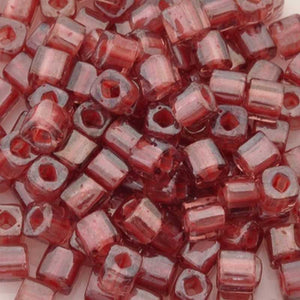 Seed Beads-4mm Cube-291 Transparent Rose Mauve Lined-Toho-15 Grams