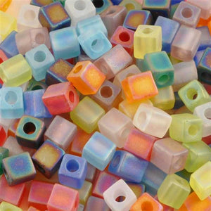 Seed Beads-4mm Cube-39 Transparent Matte AB Rainbow AB-Miyuki-15 Grams