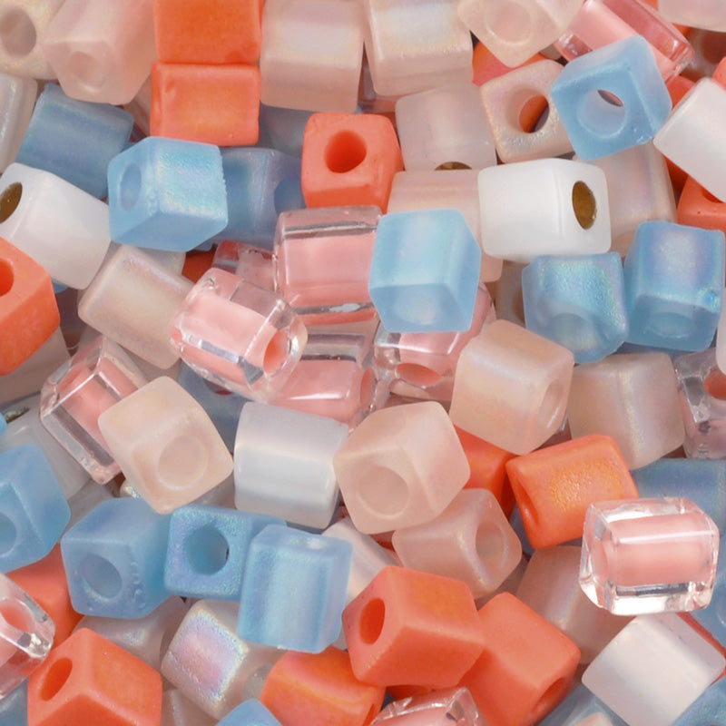 Seed Beads-4mm Cube-40 Cotton Candy-Miyuki-15 Grams