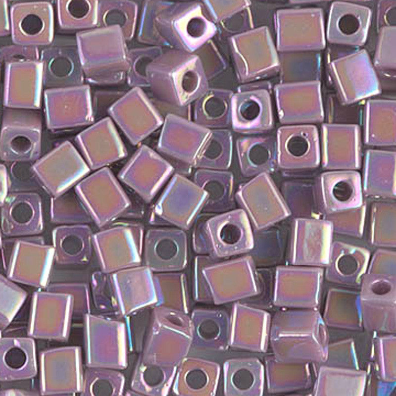 Seed Beads-4mm Cube-410R Opaque Mauve AB
