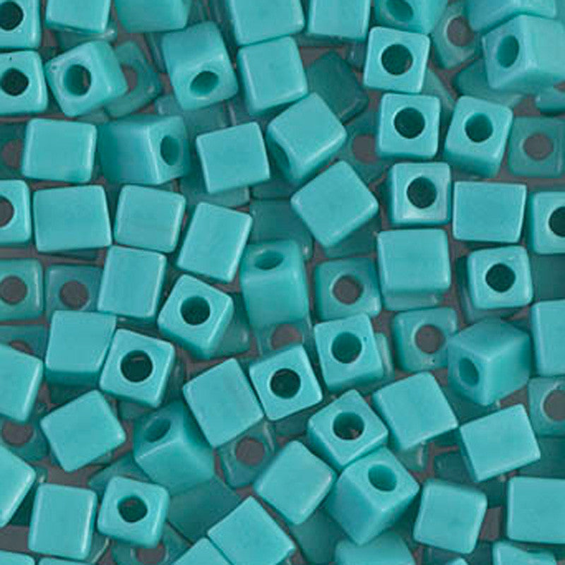 Seed Beads-4mm Cube-412 Opaque Turquoise Green