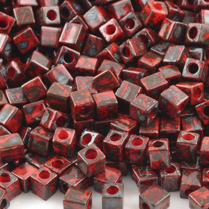 Seed Beads-4mm Cube-4513 Opaque Red Picasso-Miyuki