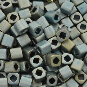 Seed Beads-4mm Cube-512F Higher Metallic Frosted Blue Haze-Toho-15 Grams