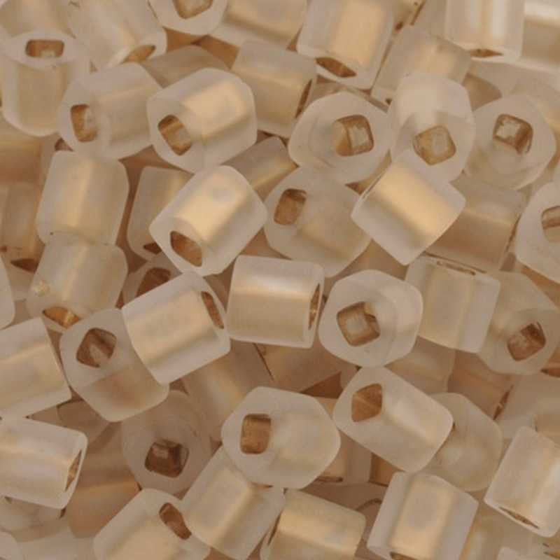 Seed Beads-4mm Cube-989F Frosted Gold-Lined Crystal-Toho-14 Grams
