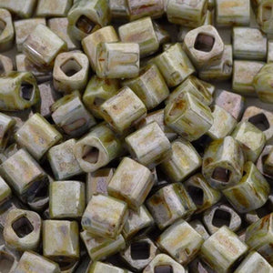 Seed Beads-4mm Cube-Y182 Hybrid Opaque Luster Transparent Green-Toho-15 Grams