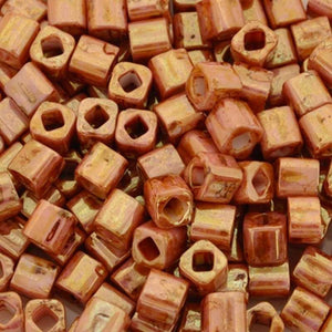 Seed Beads-4mm Cube-Y184 Opaque Rose Gold Topaz-Toho-15 Grams