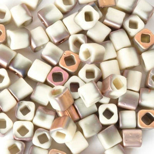 Seed Beads-4mm Cube-Y856F Hybrid Frosted Light Beige Apollo-Toho-15 Grams