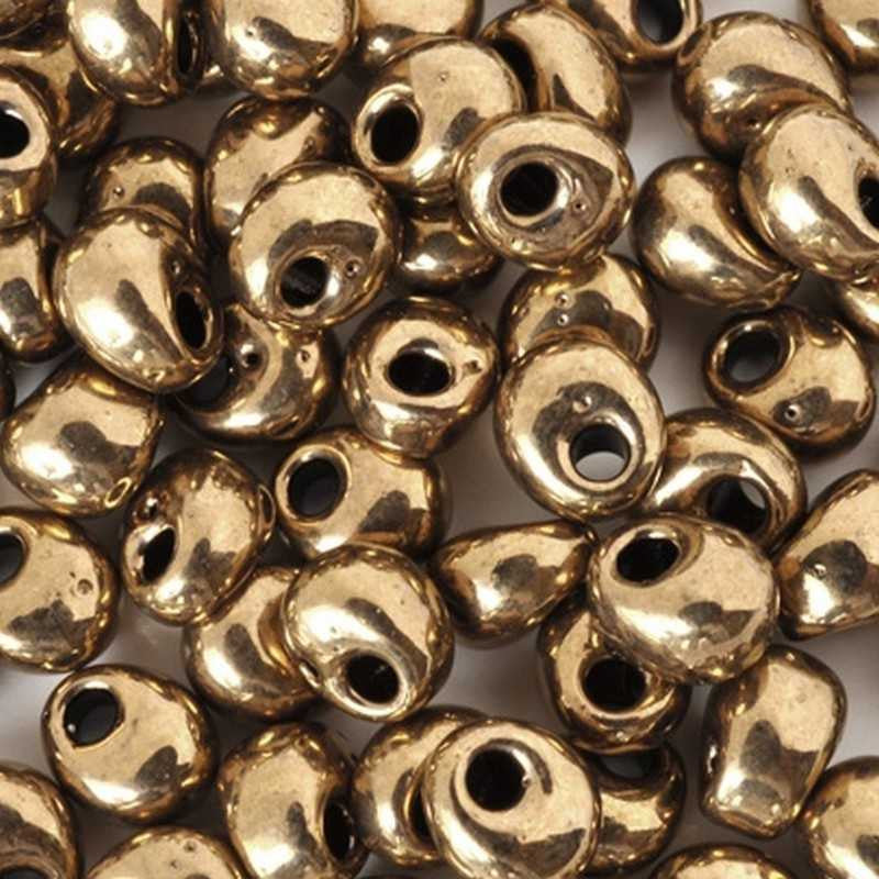 Seed Beads-4mm Magatama-457 Metallic Dark Bronze-Miyuki-16 Grams