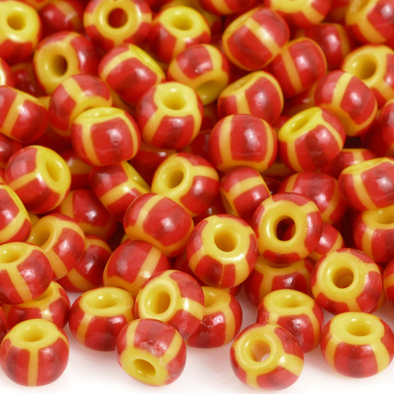 Seed Beads-5/0 Rocailles-32 Yellow Red Stripe