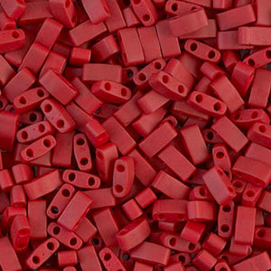 Seed Beads-5mm 1/2 Cut Tila-2040 Matte Metallic Brick Red
