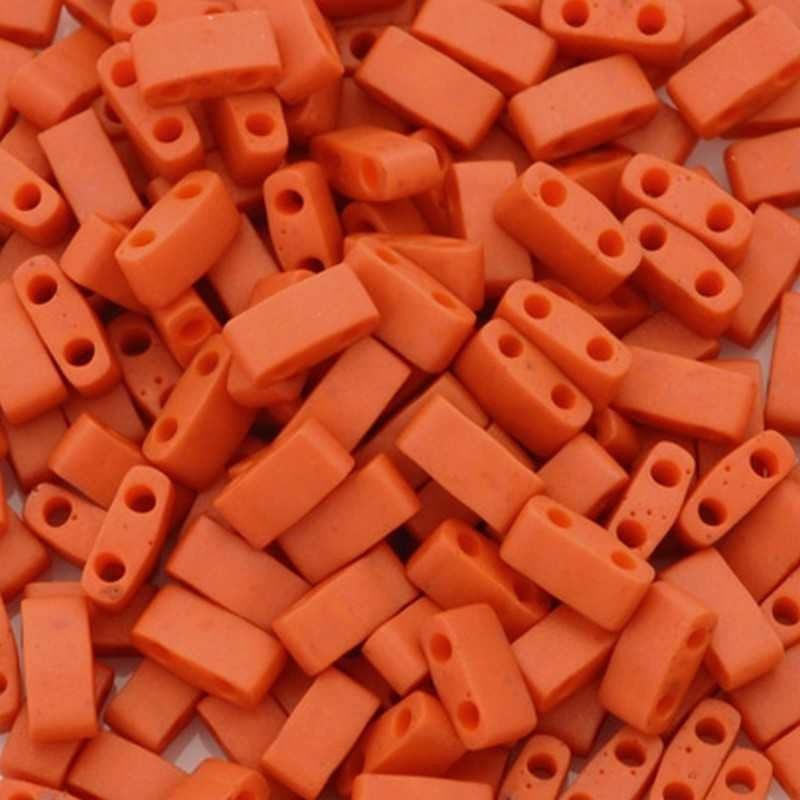 Seed Beads-5mm 1/2 Cut Tila-2315 Matte Opaque Terra Cotta-Miyuki-7 Grams