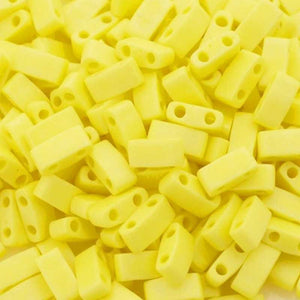 Seed Beads-5mm 1/2 Cut Tila-404FR Opaque Yellow AB-Miyuki-7 Grams