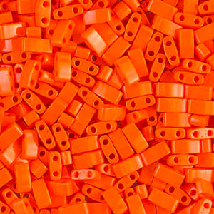 Seed Beads-5mm 1/2 Cut Tila-406 Opaque Orange-Miyuki