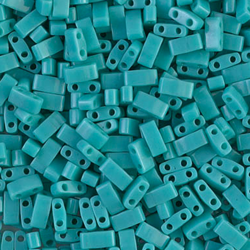 Seed Beads-5mm 1/2 Cut Tila-412 Opaque Turquoise Green