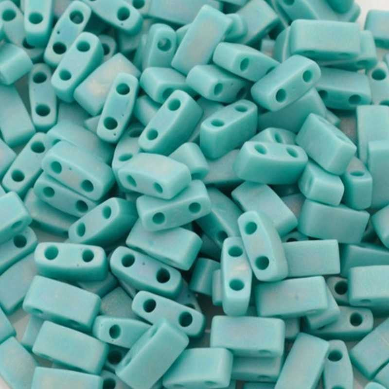 Seed Beads-5mm 1/2 Cut Tila-412FR Matte Opaque Turquoise Green AB-Miyuki-7 Grams