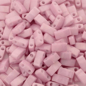 Seed Beads-5mm 1/2 Cut Tila-599 Opaque Antique Rose Luster-Miyuki-7 Grams