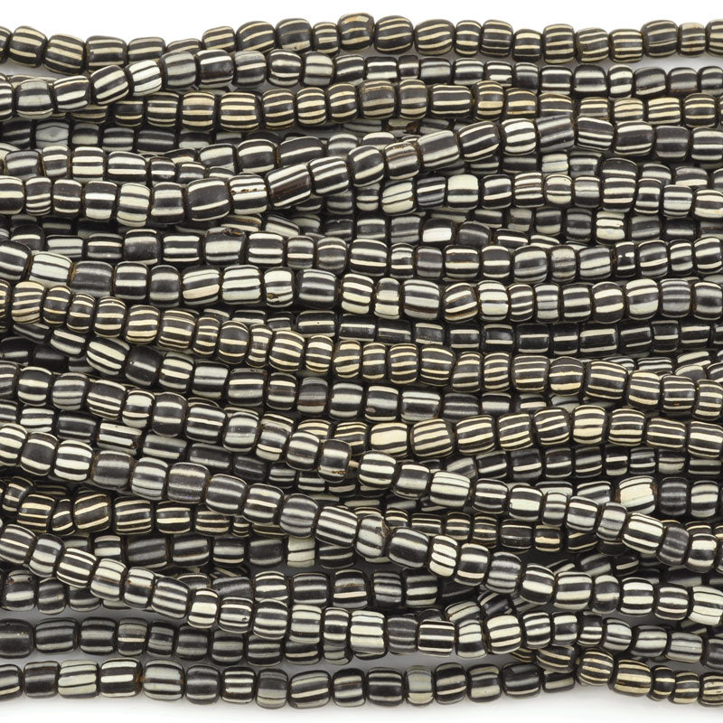 Seed Beads-5mm Handmade Glass-Indonesia-Black and White Stripe