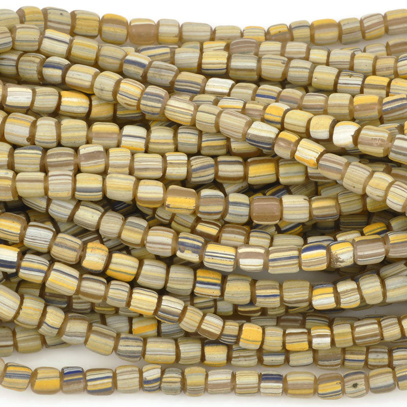 Seed Beads-5mm Handmade Glass-Indonesia-Canary Stripe