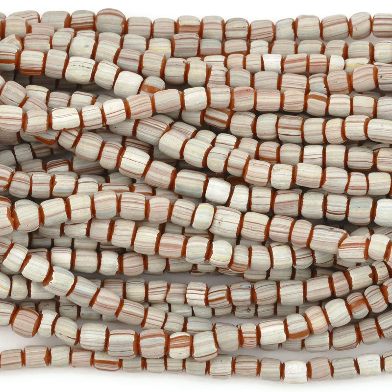 Seed Beads-5mm Handmade Glass-Indonesia-Terra Cotta White Stripe