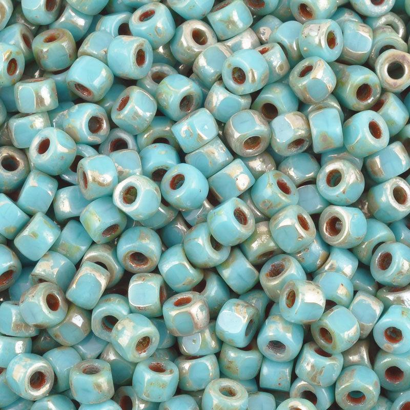 Seed Beads-6/0 Matubo-3 Cut-18 Turquoise Blue Picasso-Czech
