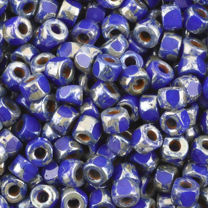 Seed Beads-6/0 Matubo-3 Cut-34 Opaque Blue Picasso-Czech