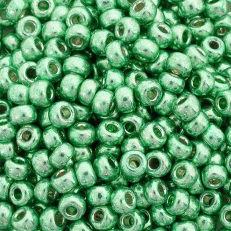 Seed Beads-6/0 Round-4214 Duracoat Galvanized Dark Mint Green-Miyuki-16 Grams