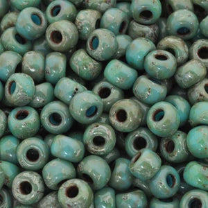 Seed Beads-6/0 Round-4514 Opaque Turquoise Blue Picasso-Miyuki
