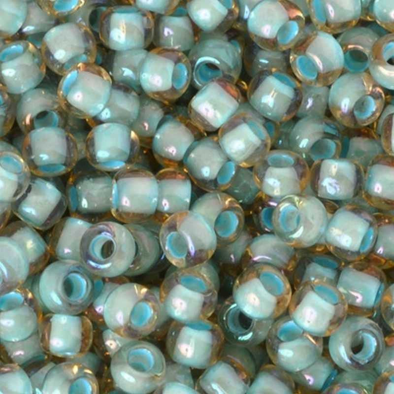 Seed Beads-6/0 Round-952 Inside Color Rainbow Light Topaz Sea Foam Lined-Toho-16 Grams