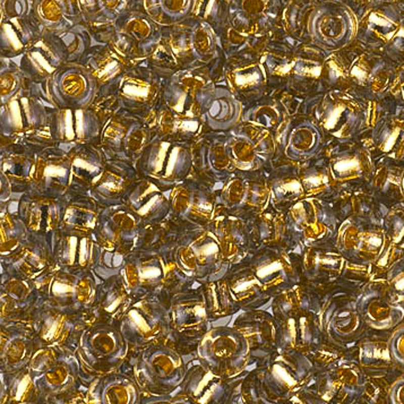 Seed Beads-6/0 Round-955 24Kt Gold Lined Pale Grey