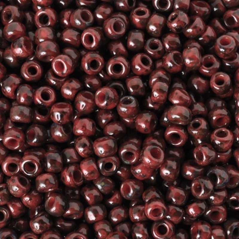 Seed Beads-6/0 Round-Y304 Hybrid Pepper Red Picasso-Toho