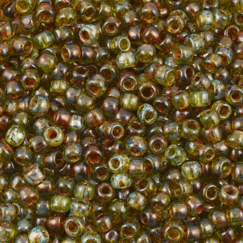 Seed Beads-11/0 Round-Y315 Hybrid Transparent Lime Green Picasso