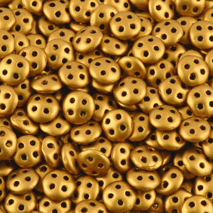 Seed Beads-6mm Czechmates QuadraLentil-103 Matte Metallic Antique Gold