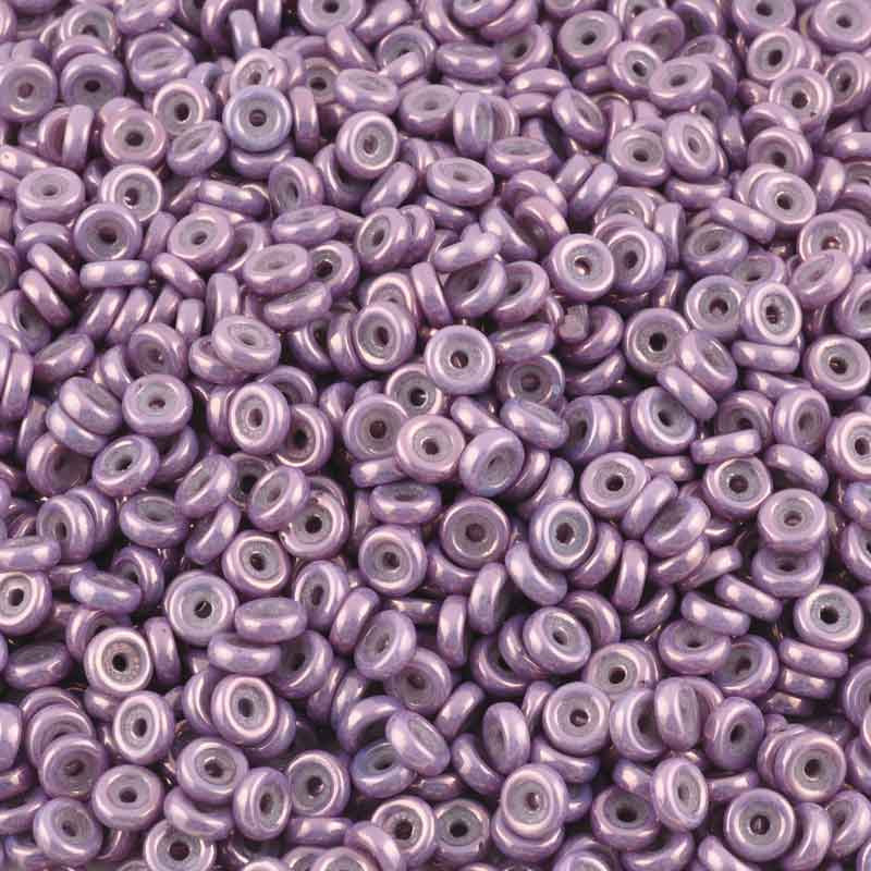 Seed Beads-6mm Wheel Beads-411 Chalk White Lila Vega Luster-Czech