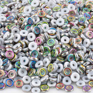 Seed Beads-6mm Wheel Beads-413 Chalk White Vitrail-Czech