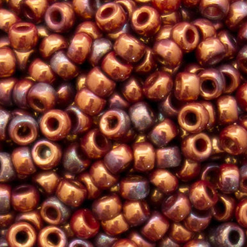 Seed Beads-7/0 Matubo-26 Bronze Luster Iris Opaque Red