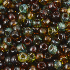 Seed Beads-8/0 Round-007 Hybrid Mix-Transparent Picasso-Toho-16 Grams
