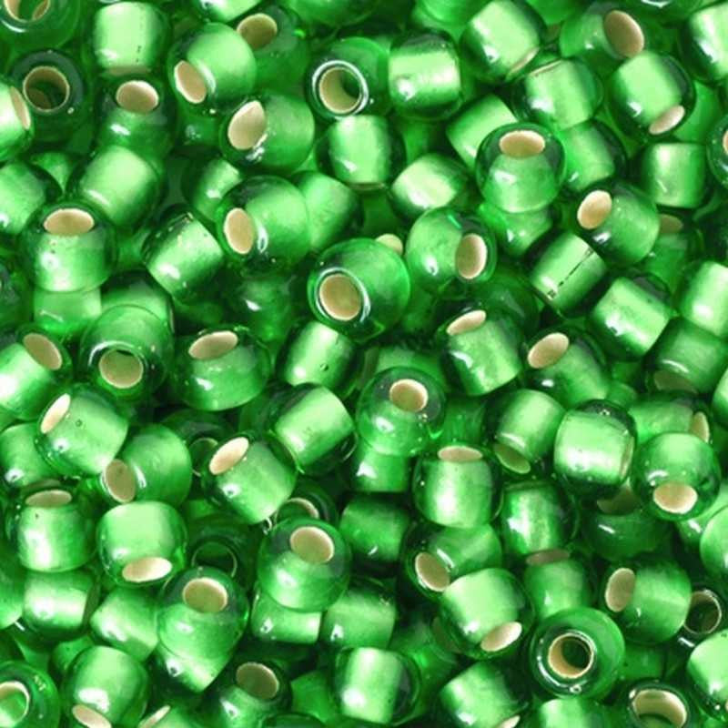 Seed Beads-8/0 Round-27F Silver Lined Frosted Peridot-Toho-16 Grams