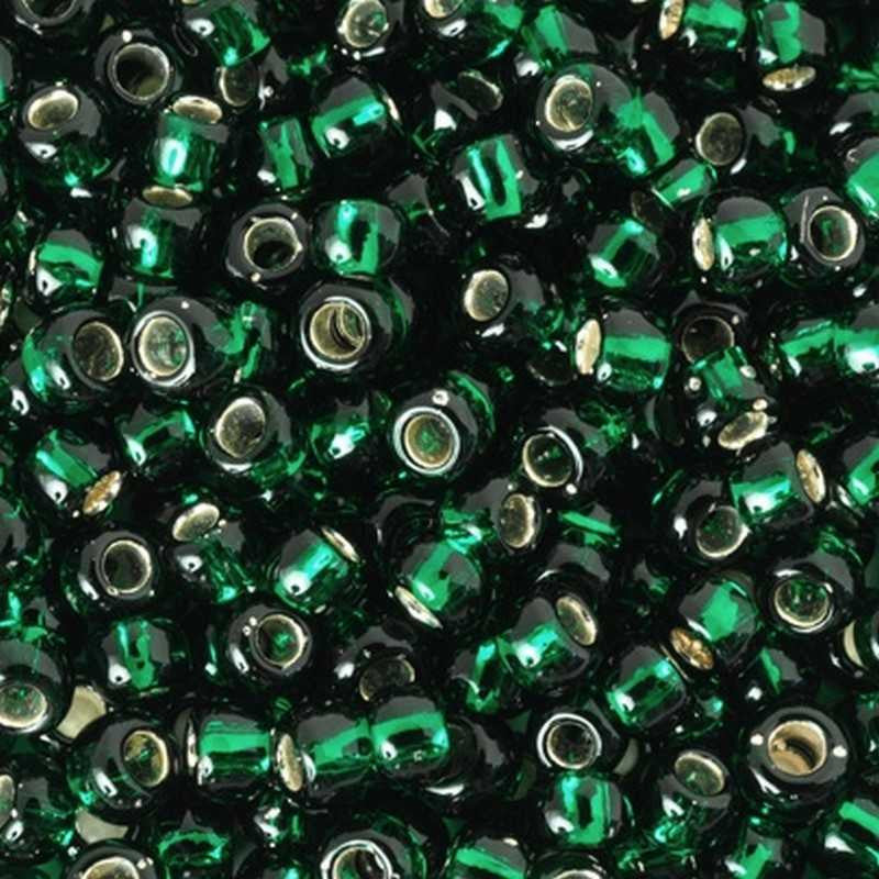 Seed Beads-8/0 Round-36 Silver Lined Green Emerald-Toho-16 Grams