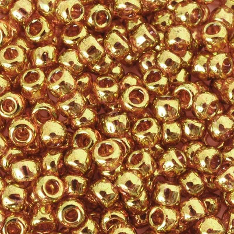 Seed Beads-8/0 Round-421 Gold Lustered Transparent Pink-Toho-16 Grams